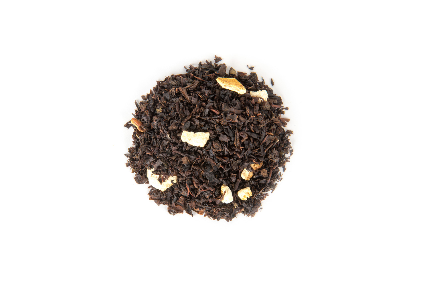 Juodosios arbatos ir vaisių gabaliukų mišinys su svarainių skoniu