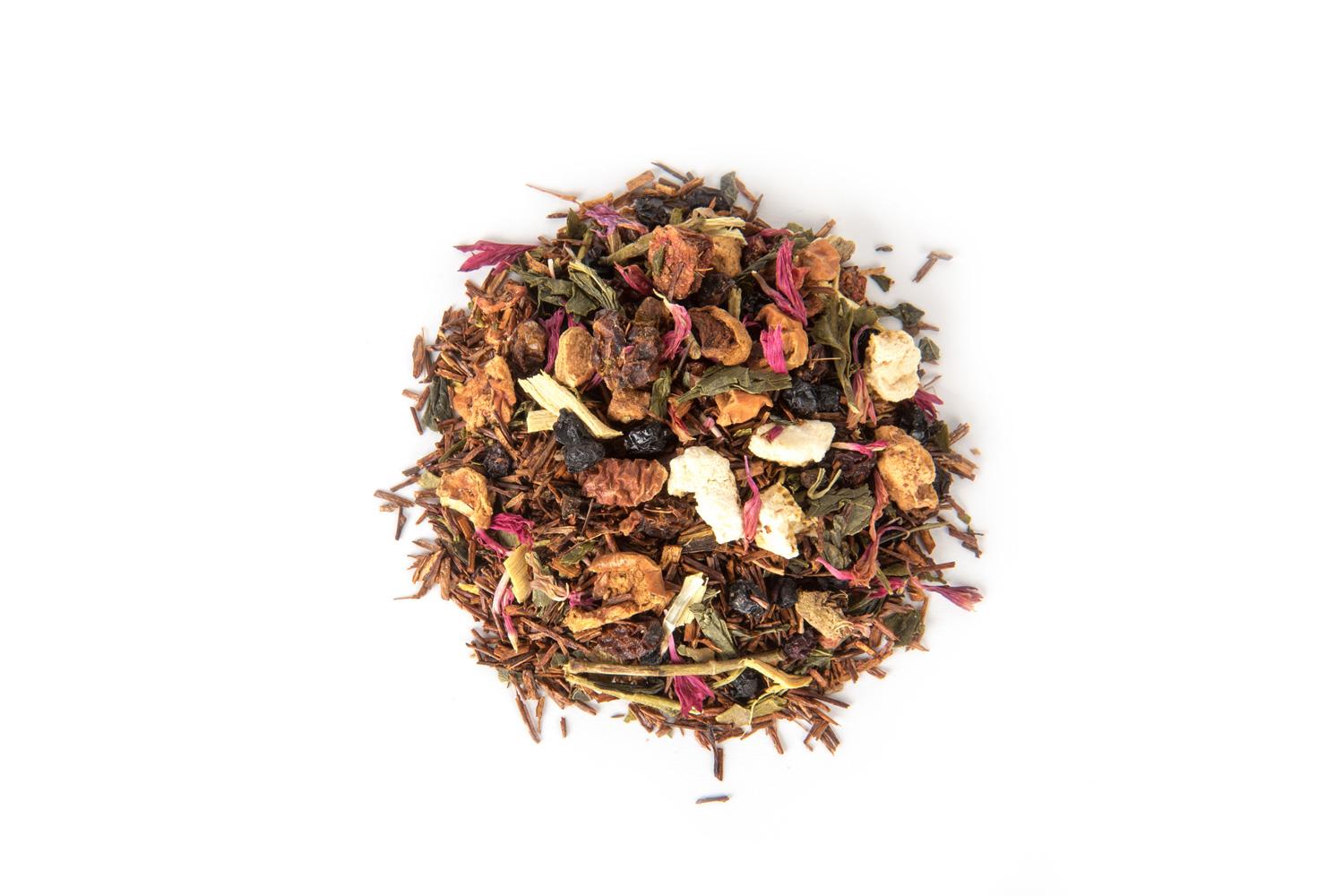 Organinė raudonoji rooibos arbata su vaisių gabaliukais ir šaltalankio uogomis